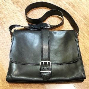 John Varvatos handmade black leather messenger bag